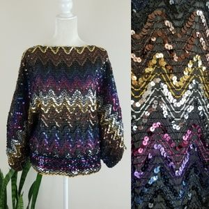 VTG 70's Disco Batwing Sequin Top